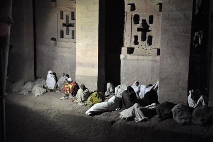 Pilgrims sleeping